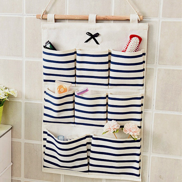 Sundry Cotton Wall Hanging Organizer Bag Multi-layer Holder Storage Bag Home Decoration Makeup Rack Linen Jewelry 5 Aad 8 Pocket - Best price in 10minus