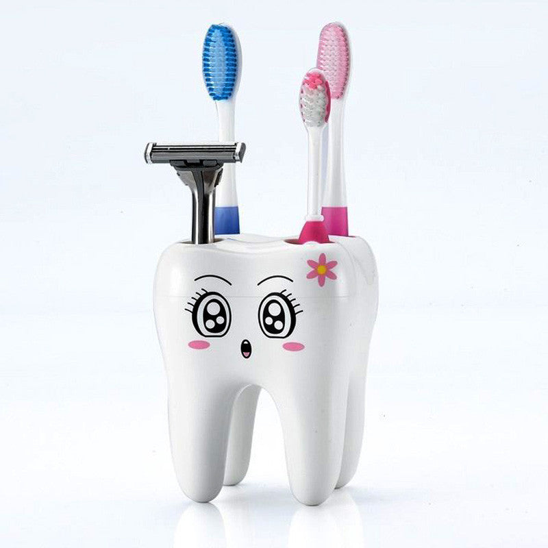 Teeth Style Toothbrush Holder 4 Hole Cartoon Toothbrush Stand Tooth Brush Shelf Bracket Container Bathroom Accessories Set - Best price in 10minus