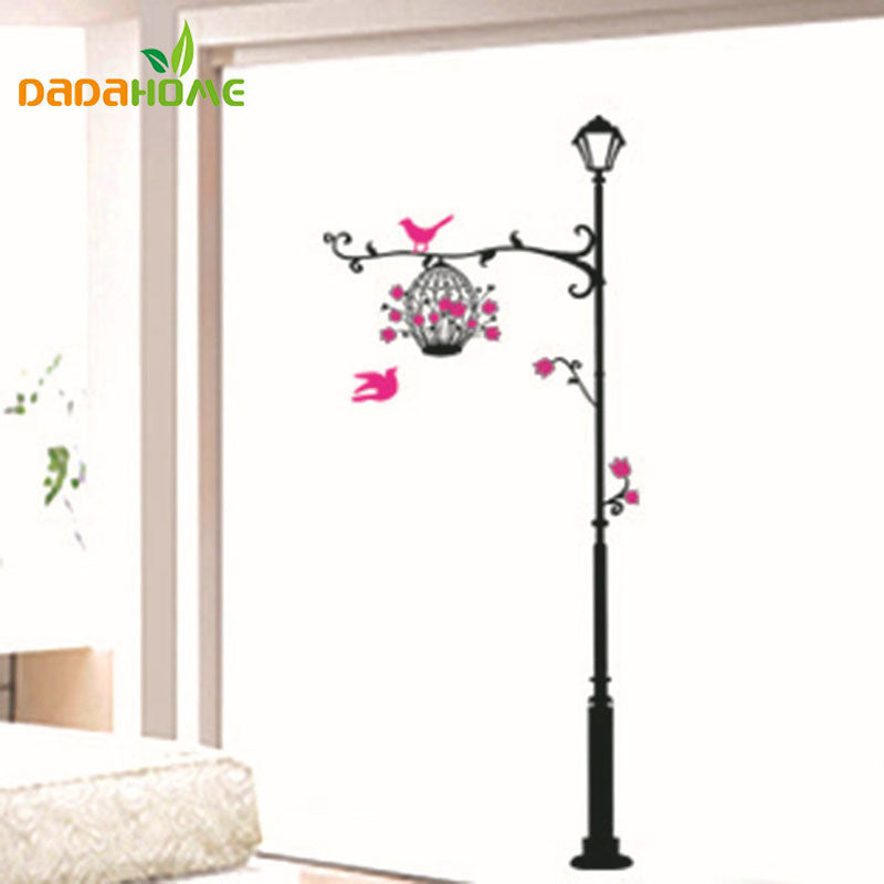 telephone pole birdcage DIY wall sticker for kids rooms muurstickers home decor living room wall decal - 10MINUS: Online Shopping Destination with High-Quality