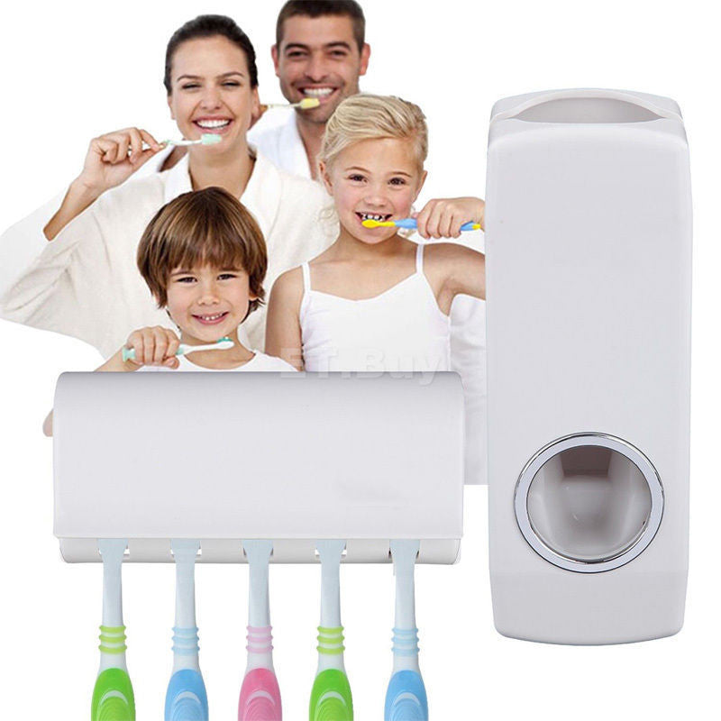 Tidy & Creative home decro Bathroom Accessories Wall Mount Rack Automatic Toothpaste Dispenser 5 Toothbrush Holder salle de bain - Best price in 10minus