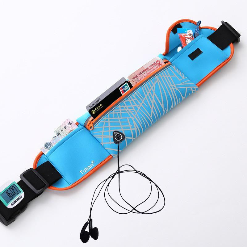 TUban outdoor sports earphone hole waist bag night Reflective Running Multifunction Waist Bag Belt - Best price in 10minus
