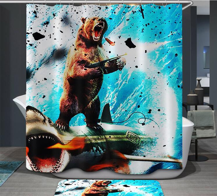 New High Quality Cartoon Printed Elephent Polyester Shower Curtain Waterproof Home Bathroom Curtains 3D thicken shower curtains - Best price in 10minus