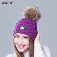 2016 new knitted hat fashion Women big Real Raccoon Fur pom pom Caps Crochet Hats For Women Winter Cute Casual Cap Women Beanies - 10MINUS: Online Shopping Destination with High-Quality