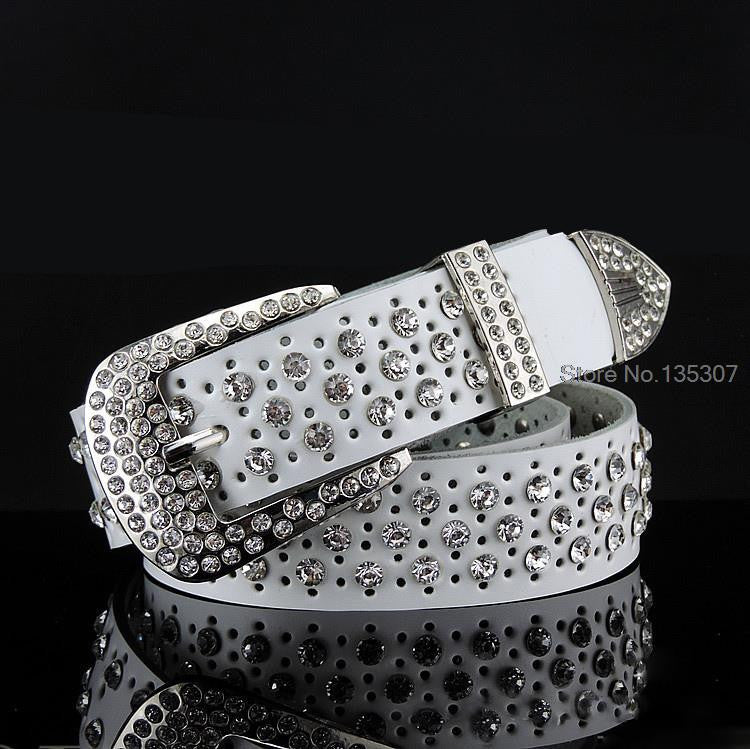 2016 New Fashion Rhinestone belts for women Luxury Designer Genuine leather belt High quality Cow second layer skin strap female - 10MINUS: Online Shopping Destination with High-Quality