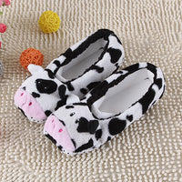 2017 New Warm Flats Soft Sole Women Indoor Floor Slippers/Shoes Animal Shape White Gray Cows Pink Flannel Home Slippers 6 Color - Best price in 10minus