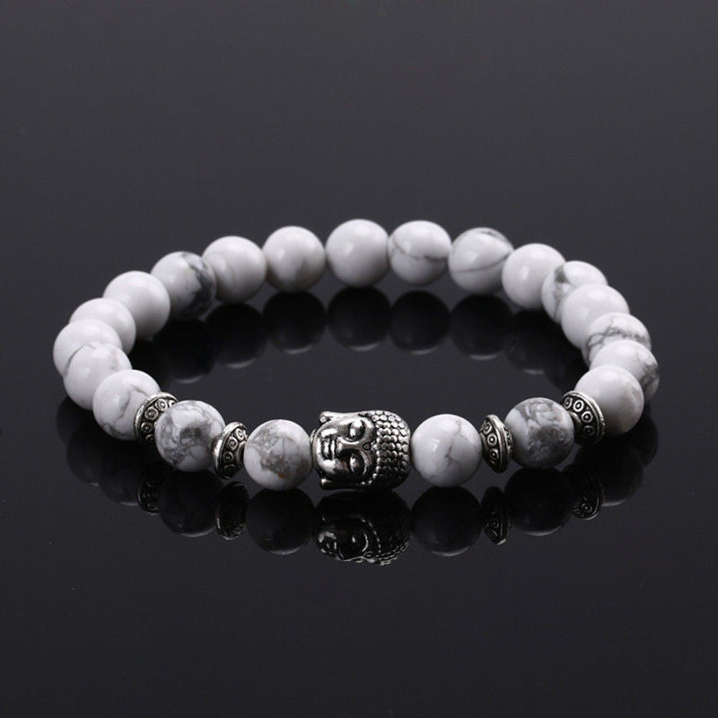 1PC Handmade Men Women Lava Rock Bracelet Natural Buddha Head Beads Bangle - 10MINUS: Online Shopping Destination with High-Quality