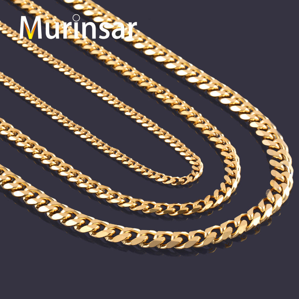 Width 3.6mm/5mm/7mm Stainless Steel Gold Chain Men Necklace Gold Filled Stainless Steel Link Chain Necklace Free Shipping - Best price in 10minus