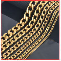 Width 3.6mm/5mm/7mm Stainless Steel Gold Chain Men Necklace Gold Filled Stainless Steel Link Chain Necklace Free Shipping - 10MINUS: Online Shopping Destination with High-Quality