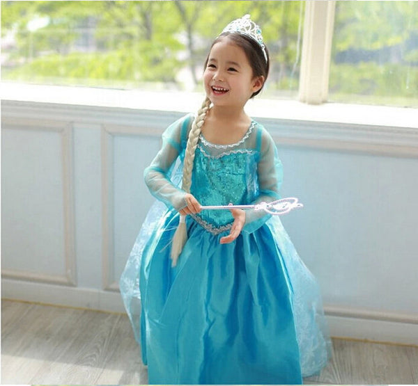 Winter Baby Girls Carnival Christmas Party Lace Sleeve Tutu Dress Elsa Anna Princess Snow Queen Clothes For Kids Girls Costume - Best price in 10minus
