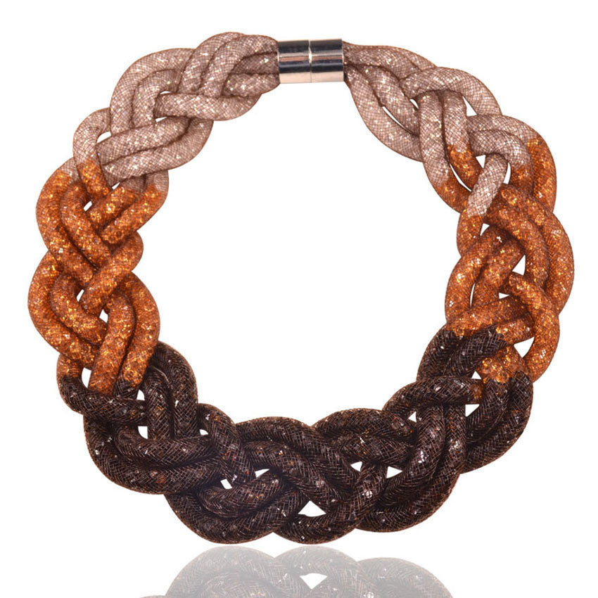 women accessories necklace 2016 massive gradient color handmade 5 strands mesh chain  necklace - Best price in 10minus