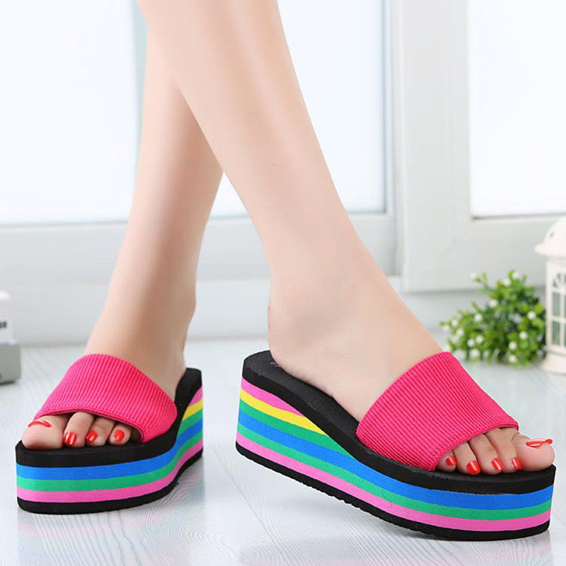 Women Beach Sandals Trifle Slippers Summer Fashion Rainbow Sandals Shoes Wedge Heels Sandals Slipper sapato feminino RD869381 - Best price in 10minus