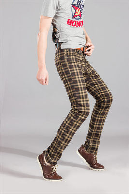 Moko male plaid casual skinny pants male elastic jeans in the waist high slim Men's - Best price in 10minus