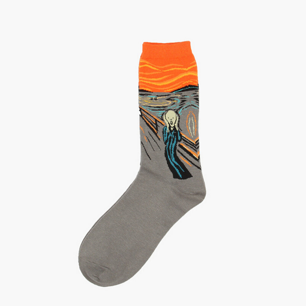 1 Pair Men Socks The Abstract Painting Series Of Autumn Winter Men's Cotton Socks In Tube Retro Notre Dame Cupid Christmas Sock - 10MINUS: Online Shopping Destination with High-Quality