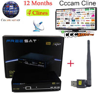 1 Year Cccam Europe Freesat V8 Super+1pc USB WiFi DVB-S2 Support PowerVu Satellite Receiver HD Full 1080P 4 Clines Cccam Server - 10MINUS: Online Shopping Destination with High-Quality