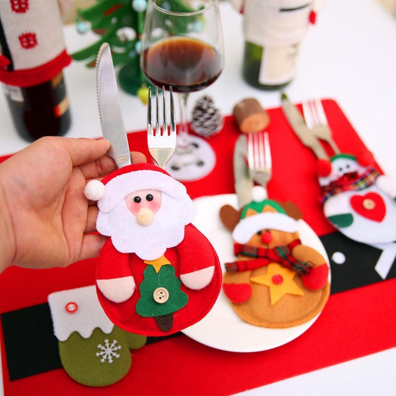12pcs Christmas Decoration 2017 Cutlery Suit Silverware Holders Pockets Knifes Folks Bag Snowman Dinner Decor Home Decoration - 10MINUS: Online Shopping Destination with High-Quality