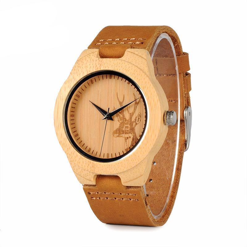 BIRD WF29 Elk Deer Styles Bamboo Wood Watches Hot Women's Luxury Brand Leather Band Wooden Wristwatches Wooden Box OEM - 10MINUS: Online Shopping Destination with High-Quality