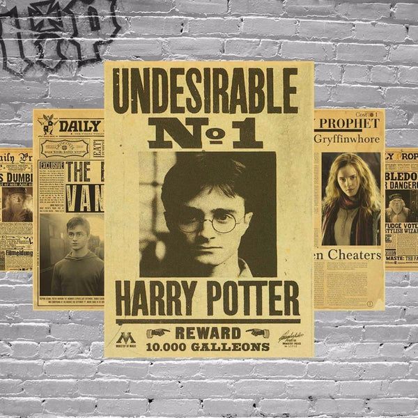 Harry Potter Wanted Order Undesirable No.1 Vintage Retro Kraft Poster Decorative DIY Wall Stickers Home Bar Posters Decor Gift - 10MINUS: Online Shopping Destination with High-Quality