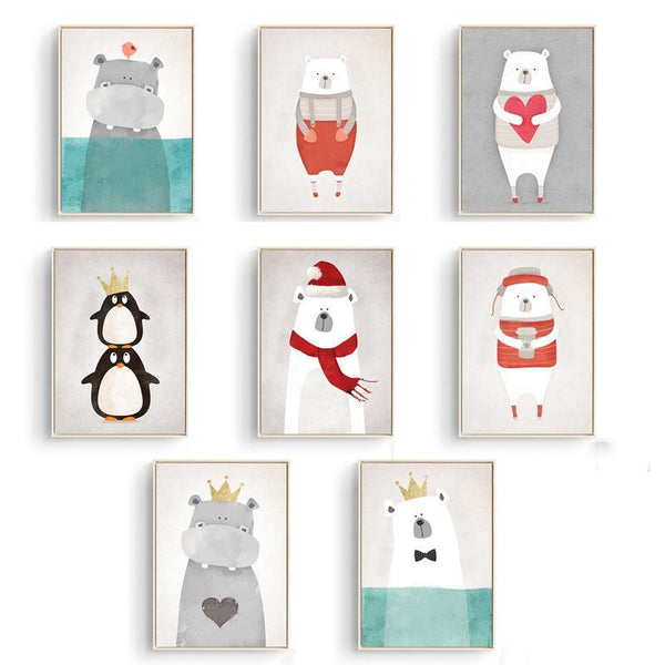 Nordic Cute Animals Bear Hippo Penguins A4 Print Poster Kids Bedroom Wall Picture No Frame Canvas Painting Home Decor - 10MINUS: Online Shopping Destination with High-Quality