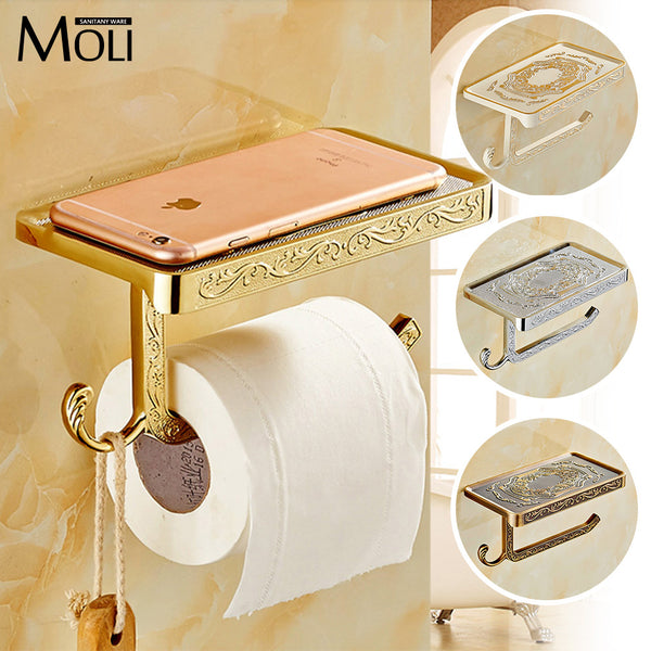 Golden White Antique Brass Finish Solid zinc alloy toilet paper holder