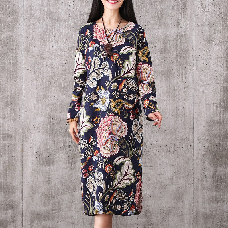 fashion cotton linen vintage print plus size women casual loose long autumn spring dress party vestidos femininas dresses 2017 - Best price in 10minus