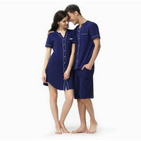 summer short sleeve top and shorts men pajamas modal couple v neck