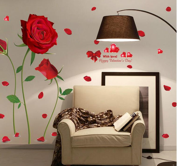 Removable Red Rose Life Is The Flower Quote Wall Sticker Mural