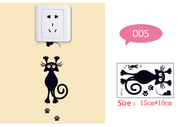 Creative Black cat love Cartoon Removable Switch stickers PVC Wall Sticker