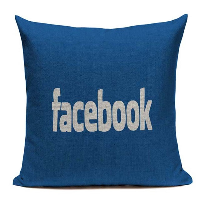 Decorative throw pillows logo on Youtube facebook twitter google
