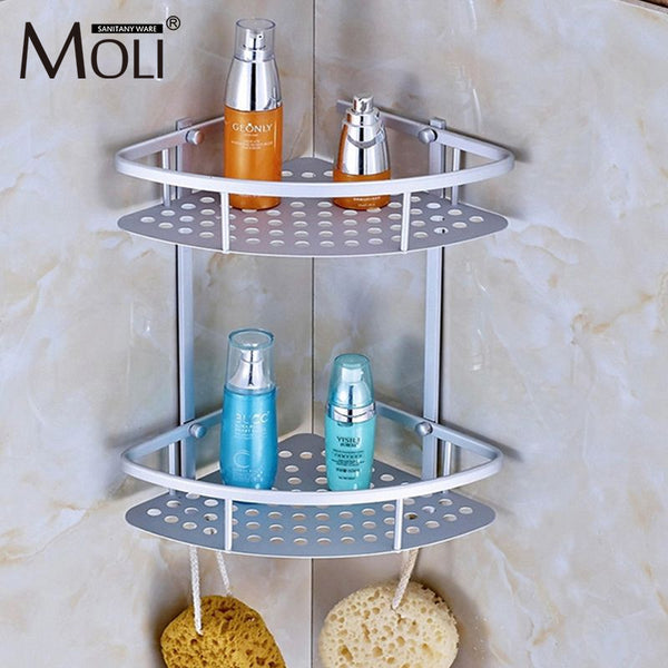 Space Aluminum Bathroom Shelf Shower Shampoo Soap Cosmetic Shelves