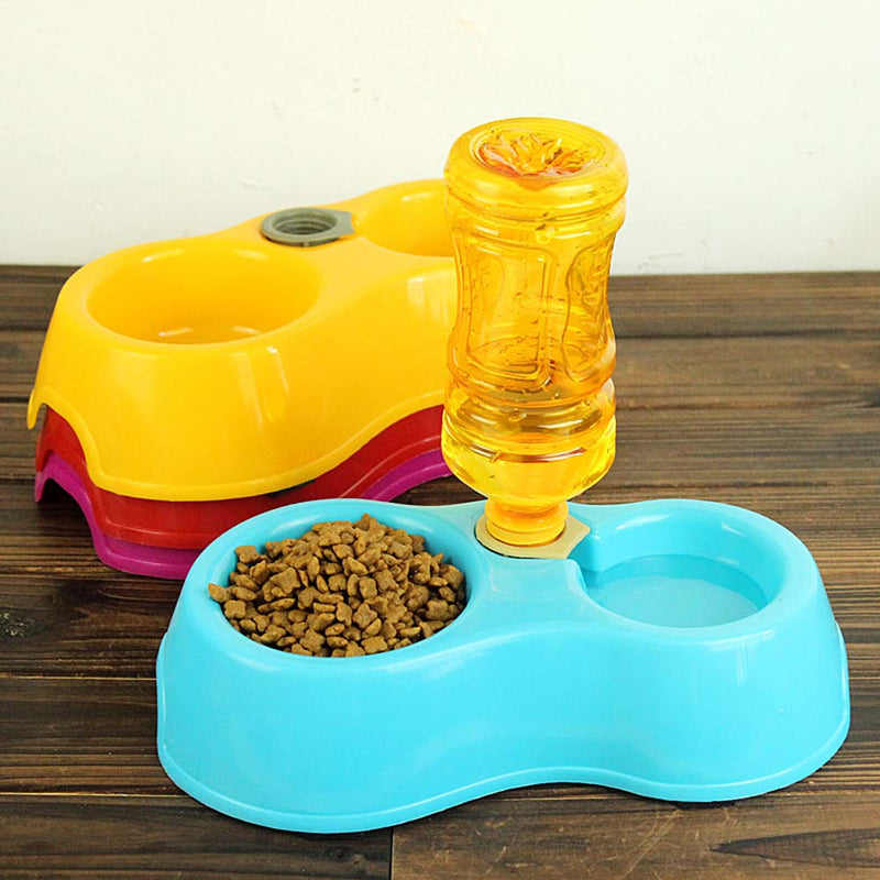 Double Pet Dog Food Dish Bowls Automatic Water Dispenser Pet Feeders