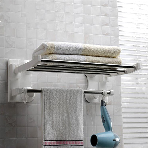 40cm Long Suction Cup Towel Bars Stainless Steel Bath Towels Rod Rack