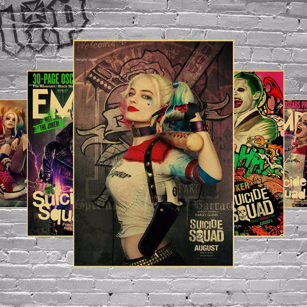 Vintage Batman Harley Quinn Suicide Squad Movie Poster Retro Kraft Paper