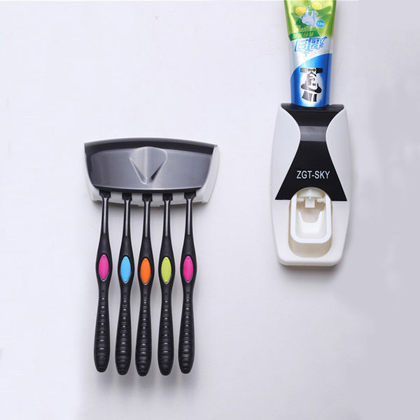 1set Fashion Automatic Toothpaste Dispenser  Family Holder 5 Toothbrush