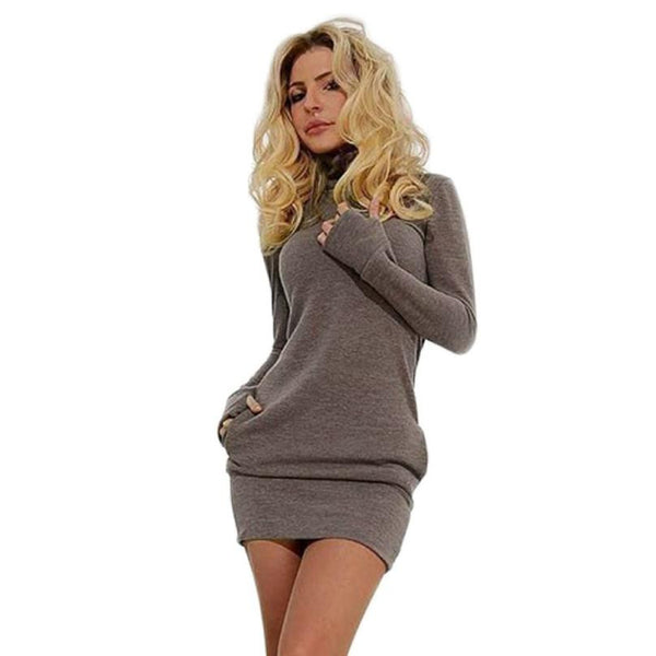 Winter Long Sleeve Basic Mini Bodycon Dress Tunic Sexy Clubwear T-shirt