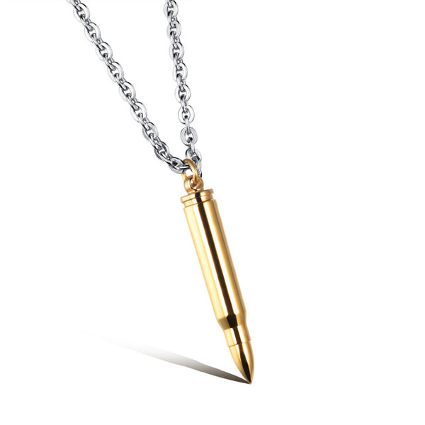 OBSEDE Charm Men Jewelry Titanium Stainless Steel Bullet Pendants Necklace Silver & Black & Gold Link Chain Punk Gift - 10MINUS: Online Shopping Destination with High-Quality