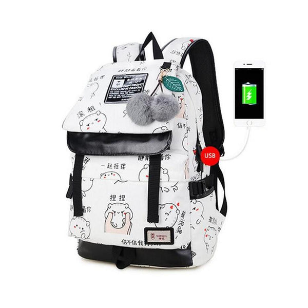 female fashion letters printing backpack USB bag for laptop women