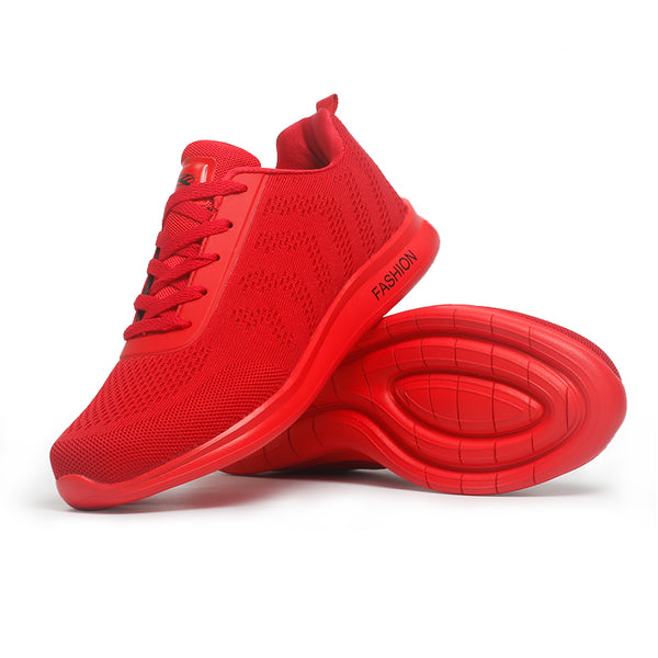 Solid Style Men Running Shoes Autumn Breathable Air Mesh Boy Red