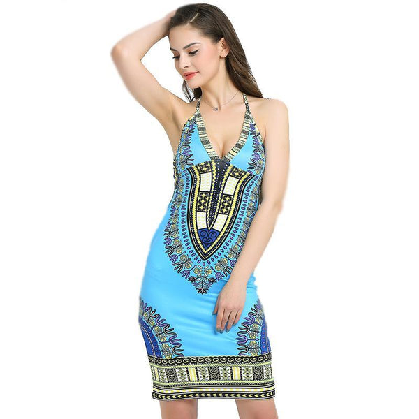 Summer Dresses For Women African Print Bodycon Sexy Dashiki Dress