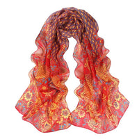 MULGREW Yellow, Green, Red, Orange, Coffee Women Ladies Girls Peacock Pattern Soft Silk Chiffon Shawl Wrap Wraps Scarf Scarves - 10MINUS: Online Shopping Destination with High-Quality