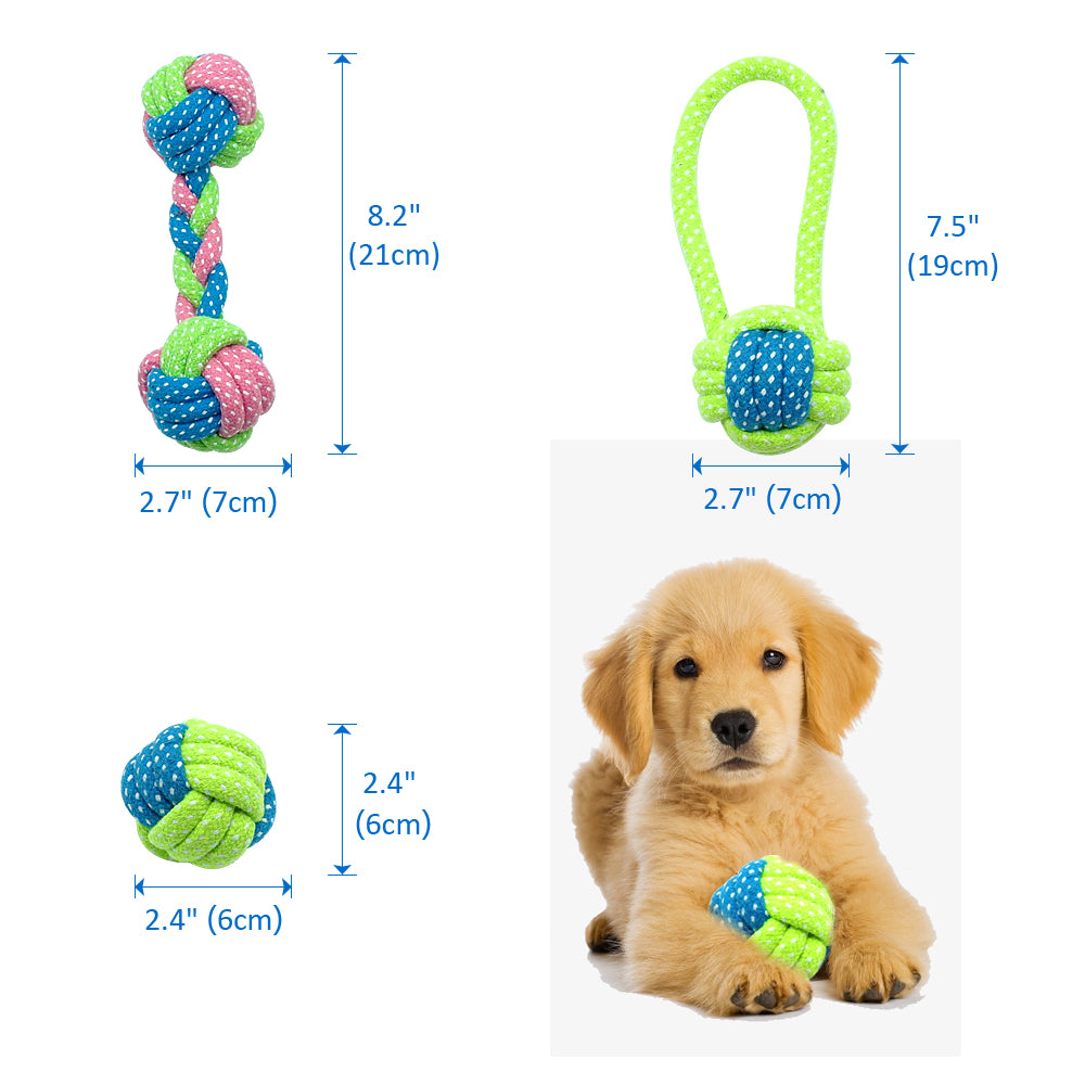 Cotton Dog Rope Toy Knot Puppy Chew Teething Toys Teeth Cleaning