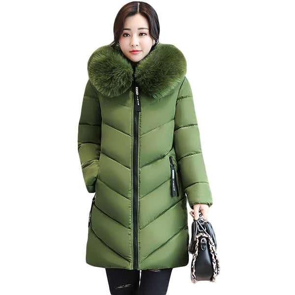 2017 Women Winter Large Fur Hooded Parkas Female Thick Warm Cotton Coat Women Wadded Winter Jackets Outwear Plus Size 6XL CM1695 - 10MINUS: Online Shopping Destination with High-Quality