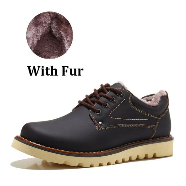 Sale  Genuine Leather Shoes For Men Adult Autumn Winter Warm Fur Male Shoes Work Casual Quality - 10MINUS: Online Shopping Destination with High-Quality