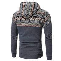 Autumn Winter Men Retro Long Sleeve Fleece Hoodie Hooded Sweatshirt