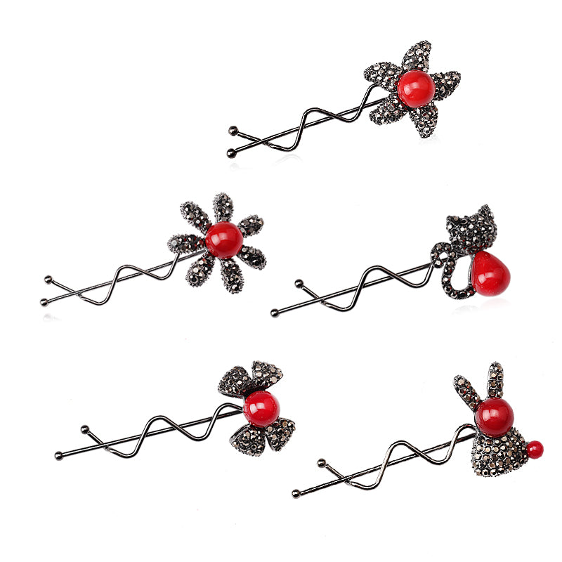 MISM 1 pc Cartoon Hairpins Women Cute Hair Clip Rhinestone Hair Grip Flower Star