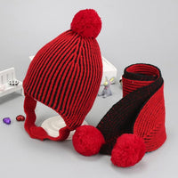 2Pcs Baby Beanie Cap winter Cotton wool Knitted Scarves Warm Children Ball Hats+Scarf Unisex striped plus velvet ear protect Set - 10MINUS: Online Shopping Destination with High-Quality