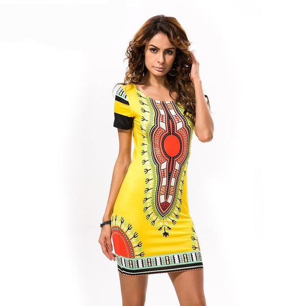 Dashiki Dress for Women Casual Mini African Print Ladies African