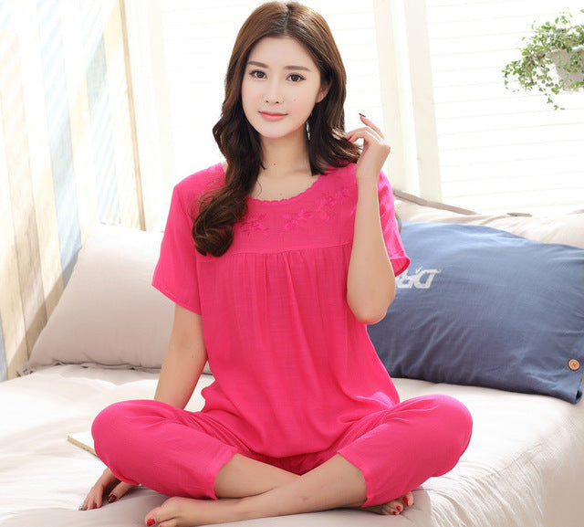 Print Female Pajamas Set Sleepwear Chinese Women Cotton Linen Pyjamas