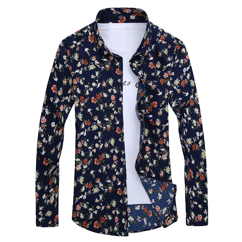 Retro Floral Printed Men Casual Shirts Fashion Classic Men Dress Shirt