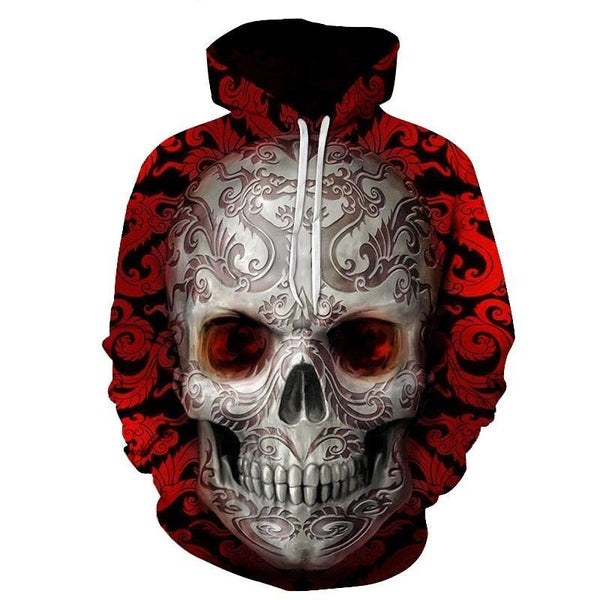 Red sugar skull Printed 3D Hoodies Men Women Sweatshirts Brand Hoodie