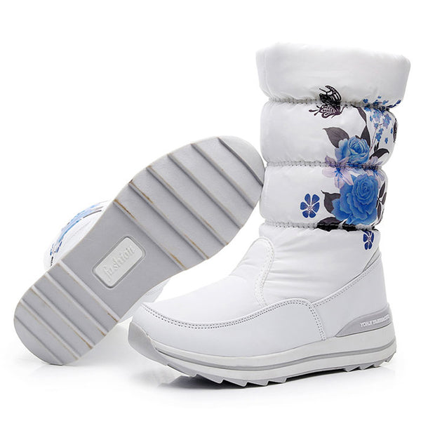 Women snow boots fashion print thicken plush winter shoes high quality
